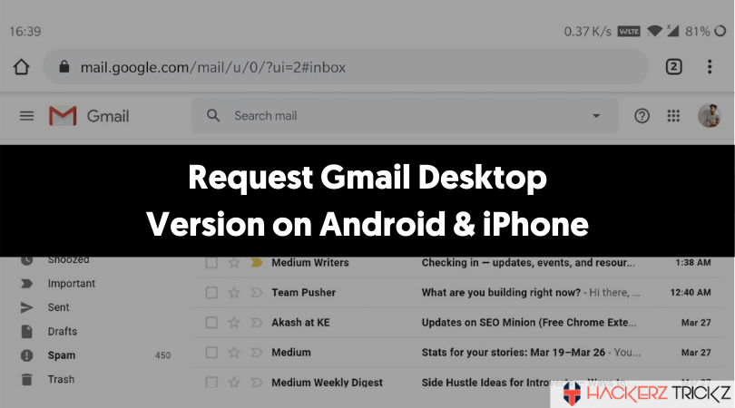 Request Gmail Desktop Version on Android